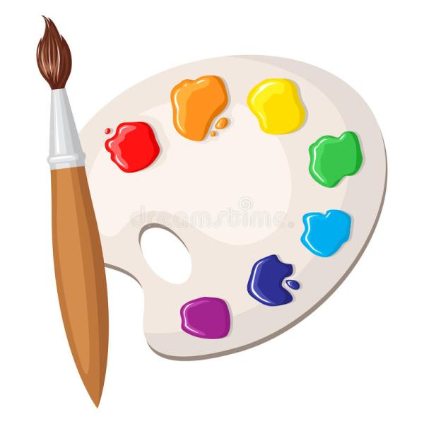 Paintbrush And Palette Of Paints Stock Vector