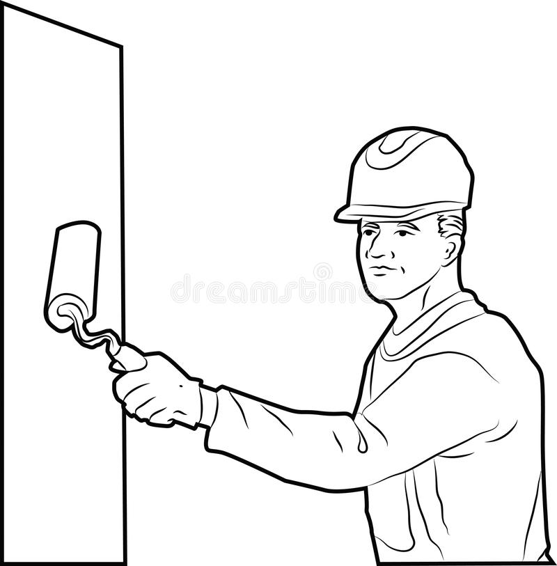 Painter wall stock illustration. Image of digital