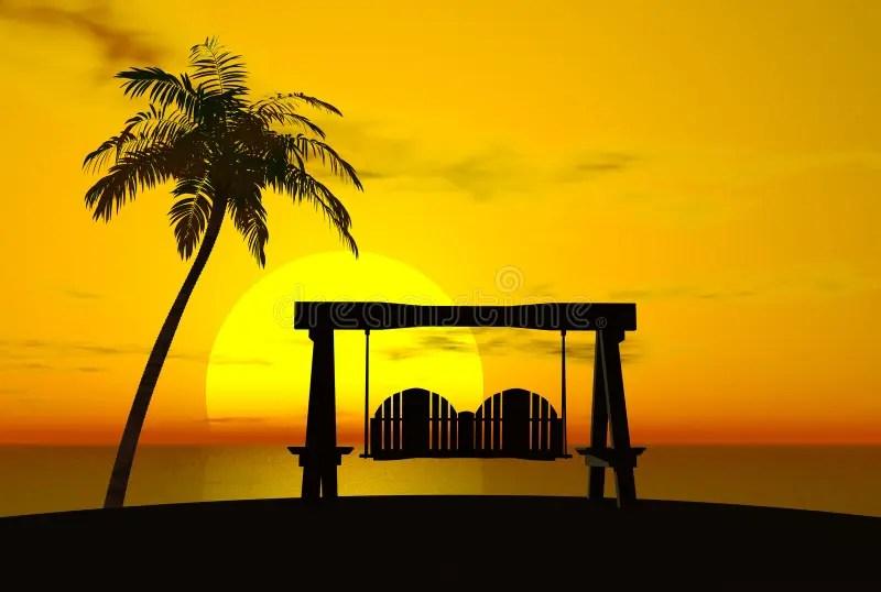Palm Tree Sunset And Swing Stock Illustration Image