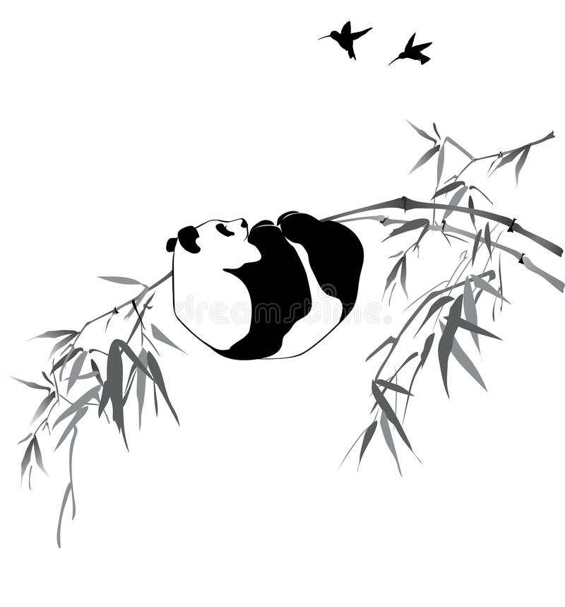 Birds at the bamboo forest stock vector. Illustration of