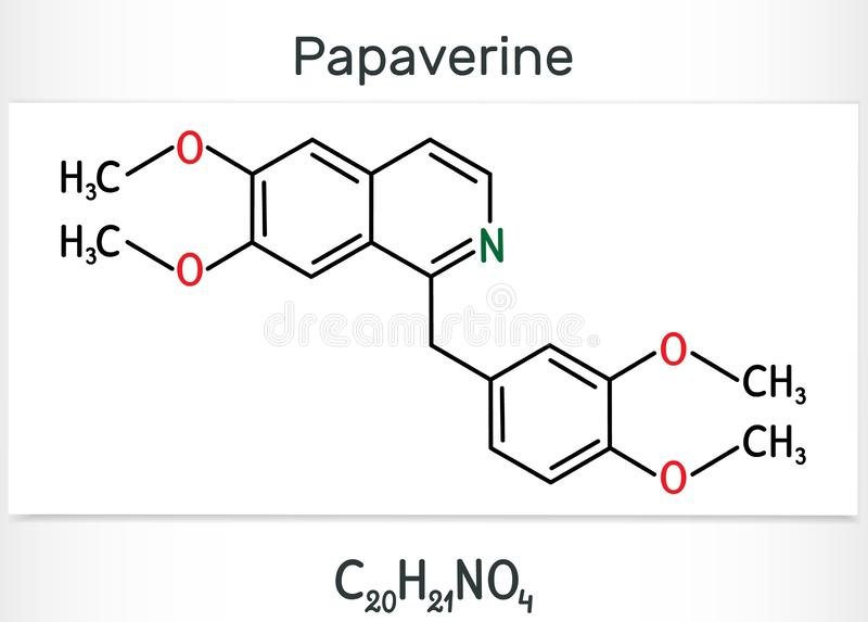 Papaverine Molecule. It Is Opium Alkaloid Antispasmodic