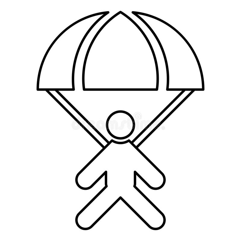 Parachute Jumper Icon Black Color Illustration Flat Style