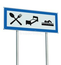 Parking Lot Road Sign Isolated Restaurant Hotel Motel