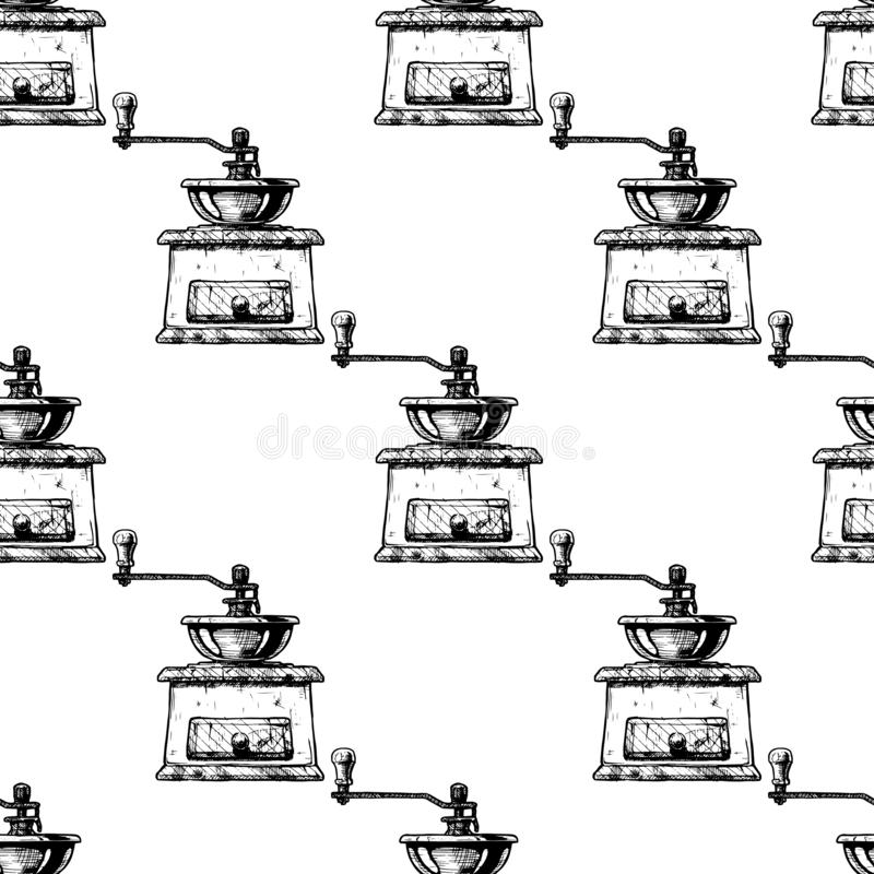 Pattern With Manual Burr Mill Coffee Grinder Stock Vector