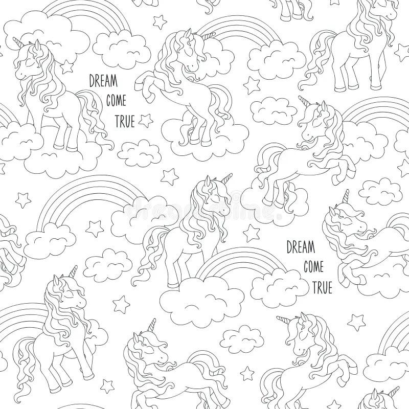 Unicorn Black White Stock Illustrations