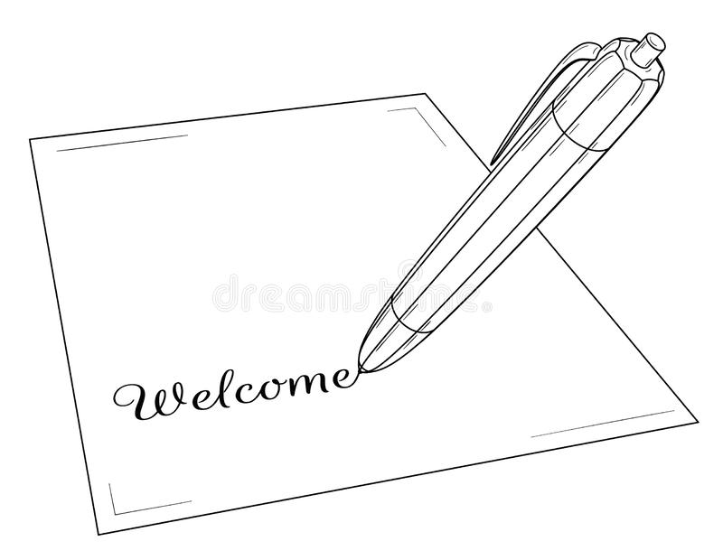 Pen Writing On Paper Word Welcome Stock Vector