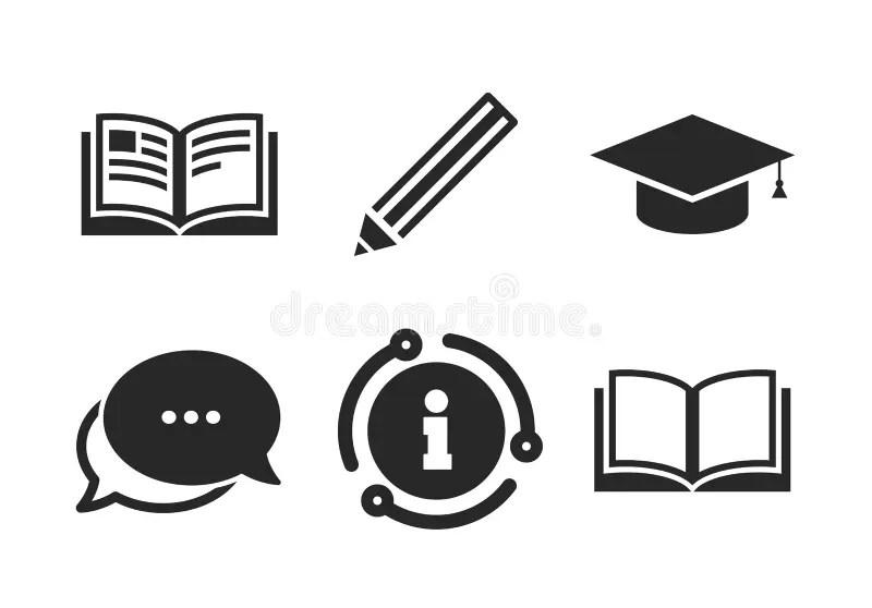 Pencil And Open Book Signs. Graduation Cap Icon Stock