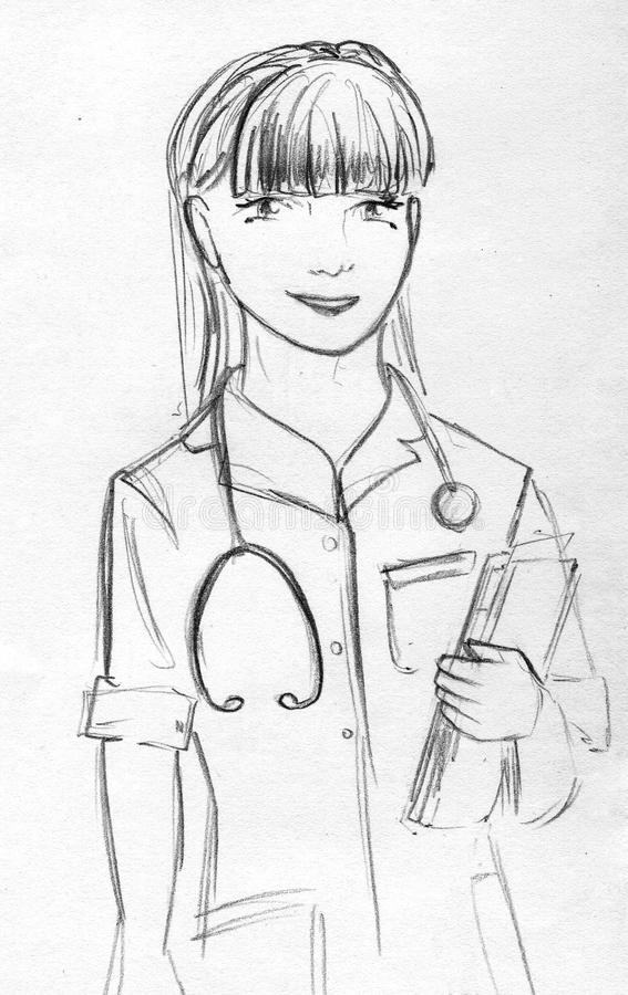 Pencil Sketch Of A Nurse Stock Illustration Illustration