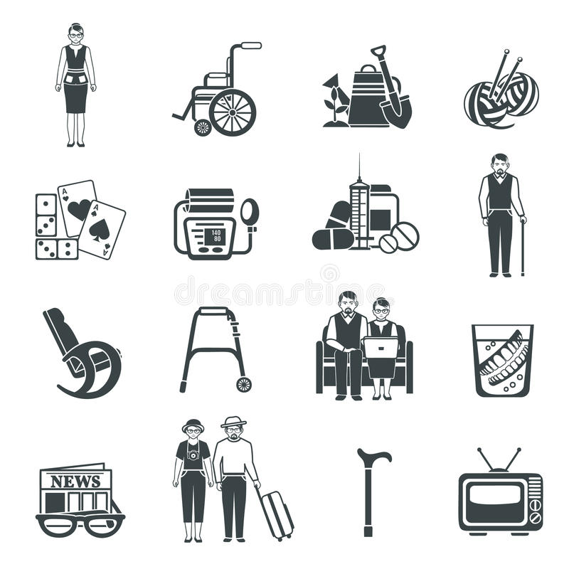 Black Retirement Life Icons Set Stock Vector