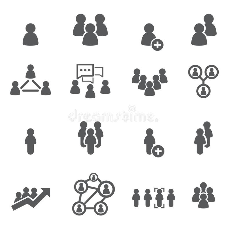 People Icon Set. Crowd Of People In Black And Red Colors