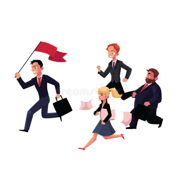 People Running Leader Holding Flag Business Success