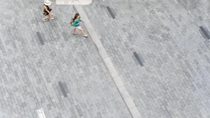 People Run In City Pedestrian Bridge With Exterior Modern