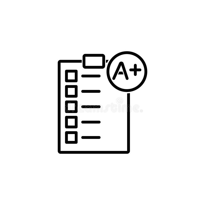 Perfect Grade On A Paper Test Icon Stock Vector