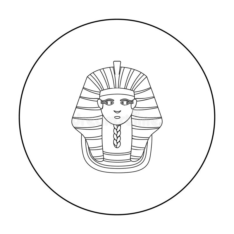 Egyptian Pharaohs Mask Icon, Outline Style Stock Vector