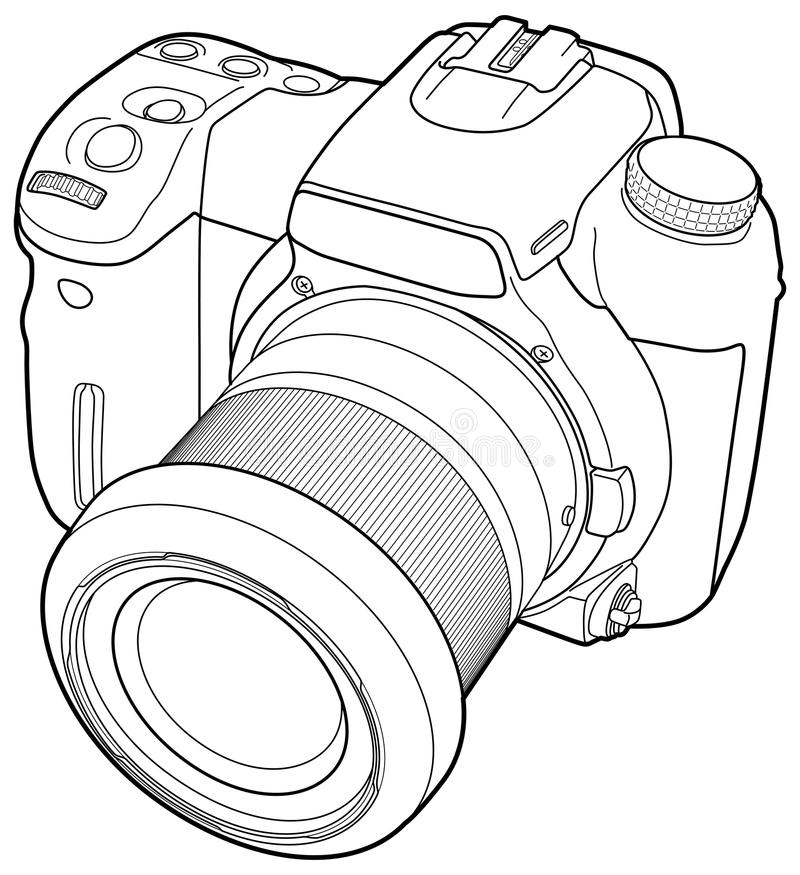 Photo camera vector draw stock vector. Illustration of