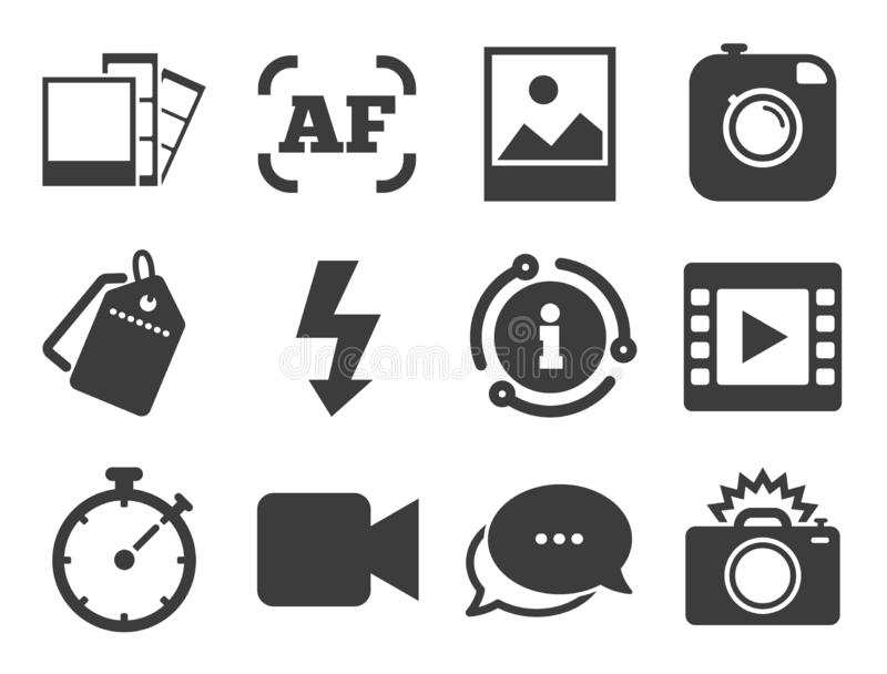 Photo Camera Icon. Flash Light And Video Frame. Stock