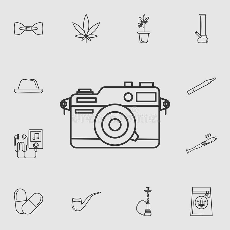 Vintage Camera Icon With Long Shadow. Signs And Symbols