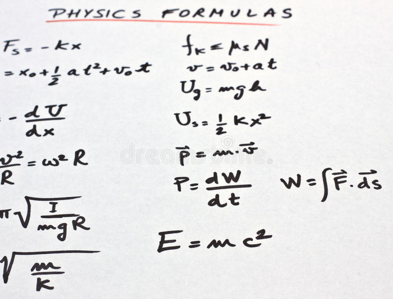 Physics Formulas Written On A White Paper Stock Image