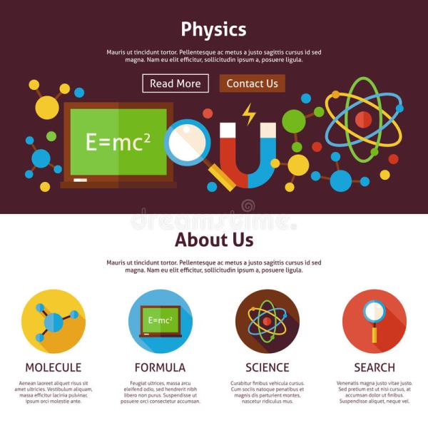 Physics Science Flat Web Design Template Stock Vector