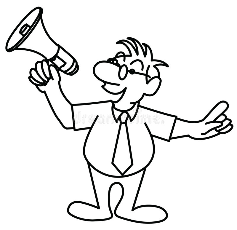 Piccolo Uomo Che Parla In Un Megafono Illustrazione