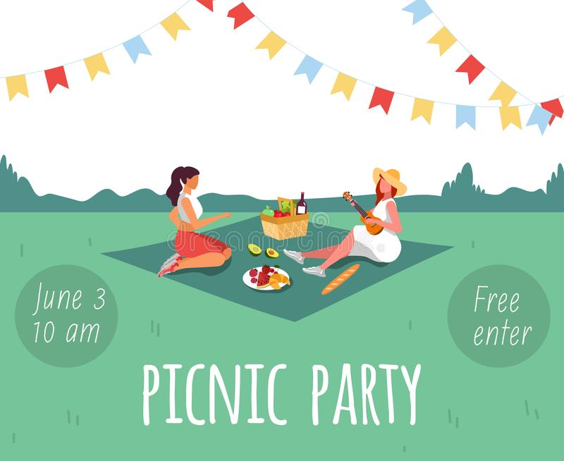 birthday picnic invitation stock