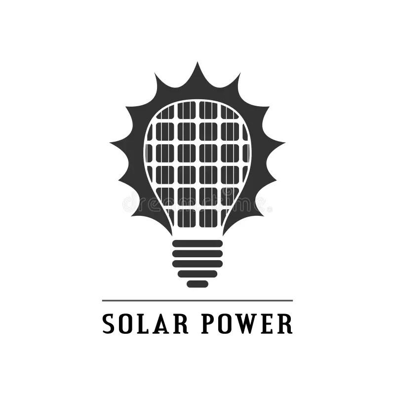 Solar Panel Inside A Idea Electricity Light Bulb. Stock