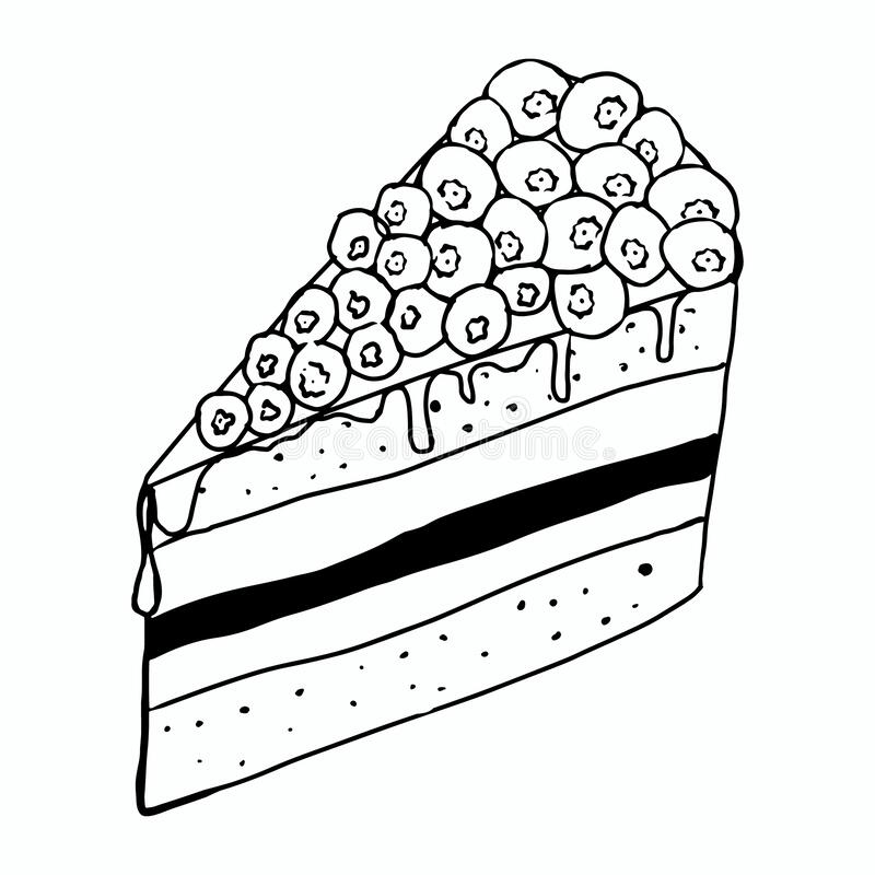 Coloring Book, Vector Chocolate Cake With Strawberry Stock