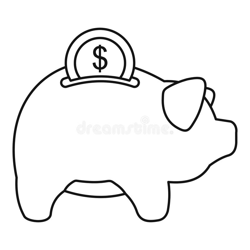 Pig Money Box Icon, Outline Style Stock Vector