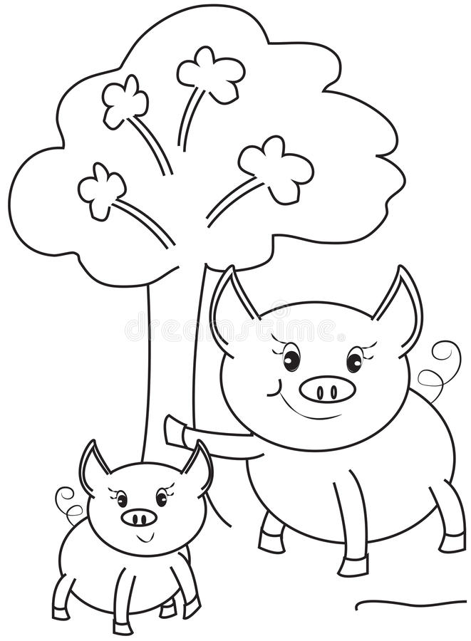 Kids Pigs Playing In Dirty Puddle Stock Vector