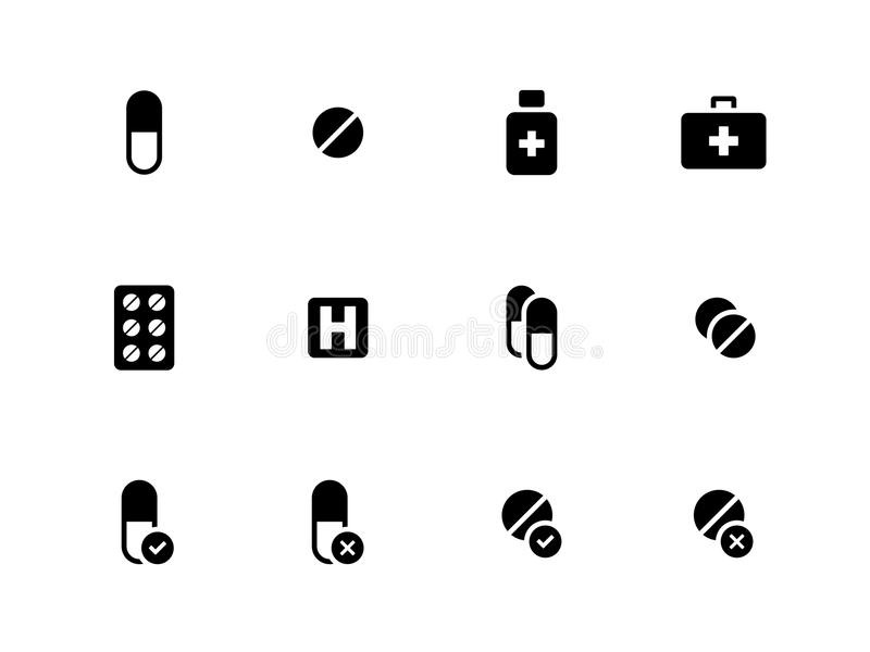 Hospital Icons On White Background. Stock Vector