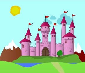 castle pink castello kingdom rose rosa fantasy clipart roze flags kasteel far chateau bridge illustrazione vliegende kaart weinig fee banner