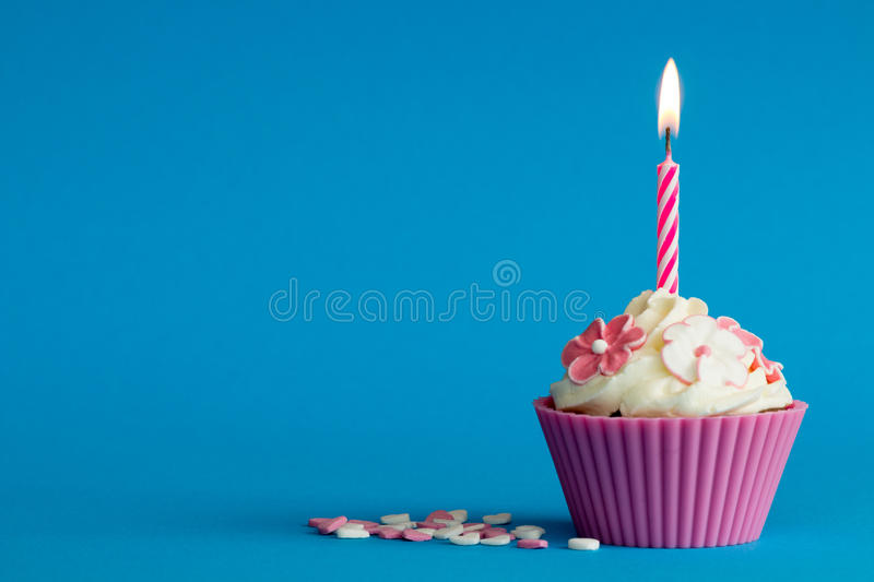 Fall Dessert Wallpaper Pink Cupcake On Blue Background Stock Photo Image Of