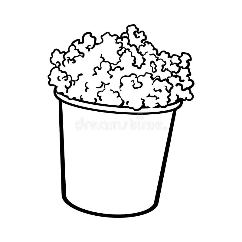 Pipoca Do Cinema Em Uma Cubeta Listrada Preto E Branco