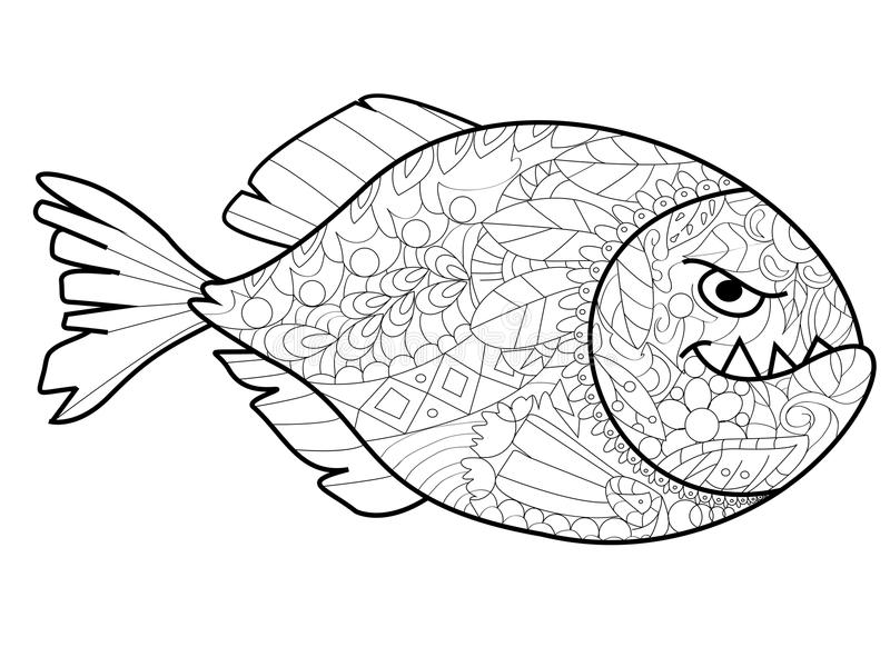 Piranha Coloring Vector For Adults Stock Vector