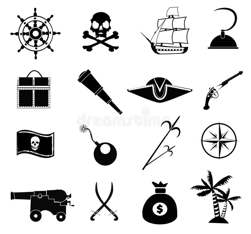 Pirate Icons Set stock vector. Illustration of compass