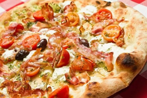 Bacon Pizza stock photo. Image of isolated, bacon, slice ...