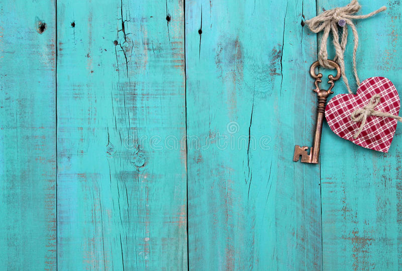Plaid Heart And Bronze Skeleton Key Hanging On Antique