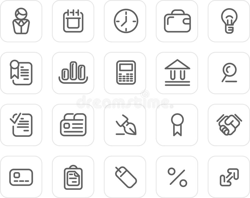 Plain icon set: Business stock vector. Illustration of