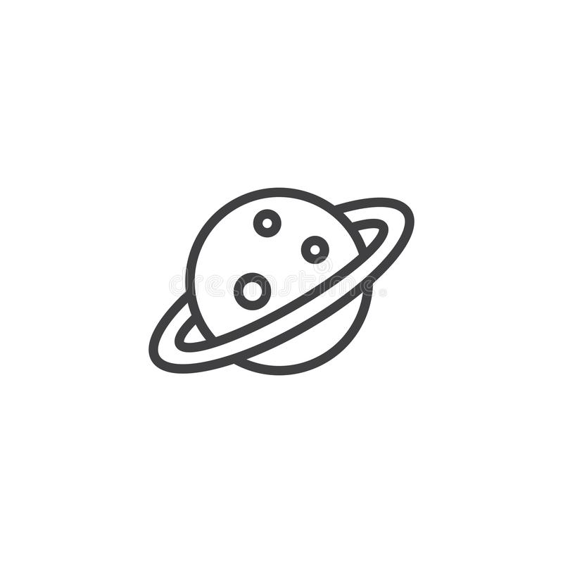 Saturn Planet Icon, Outline Style Stock Vector
