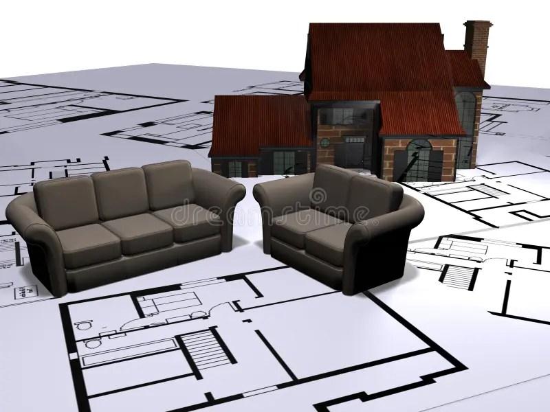 Plans de sofa et de maison illustration stock Illustration du graphique  4150424