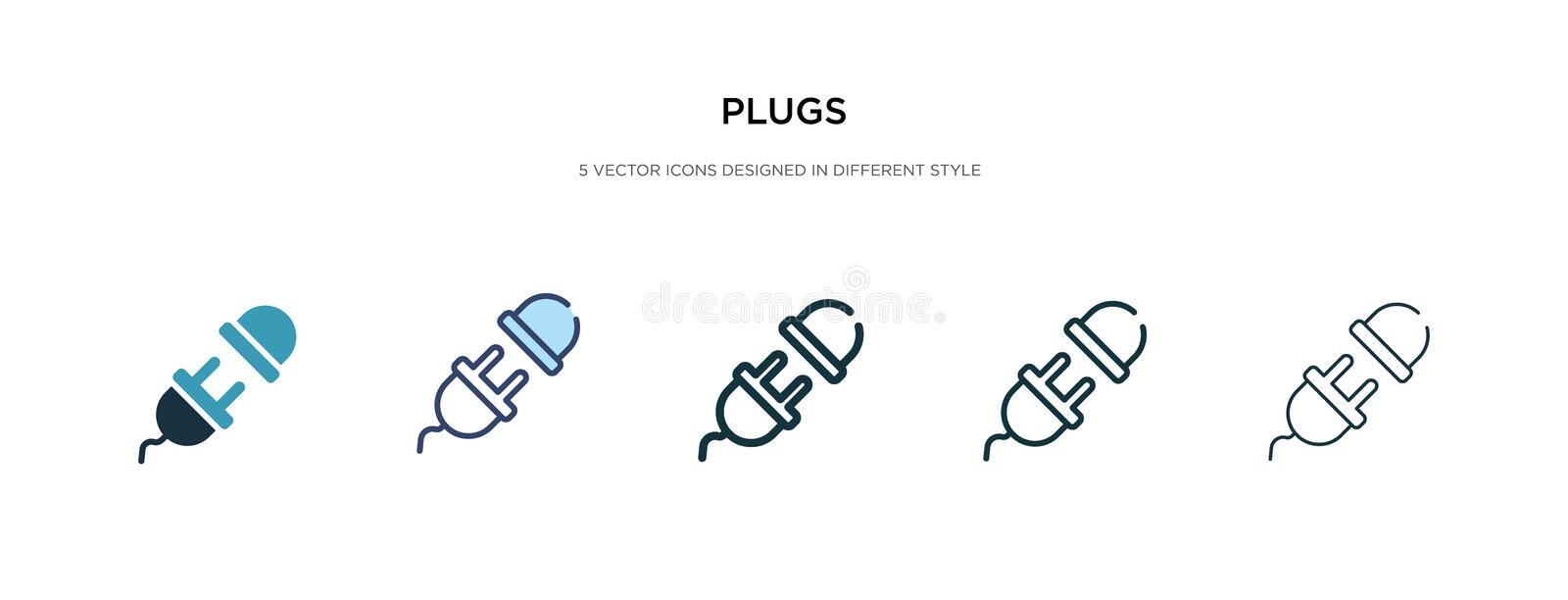 Electric Plugs Filled Outline Icon Stock Vector