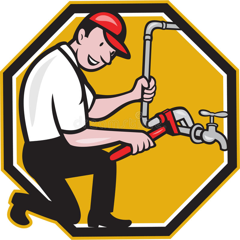 Plumber Repair Faucet Tap Cartoon Stock Vector