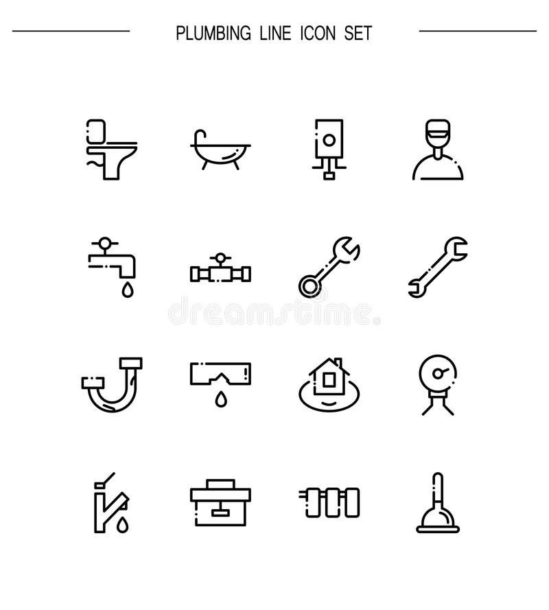 Plumbing flat icon set. stock vector. Illustration of