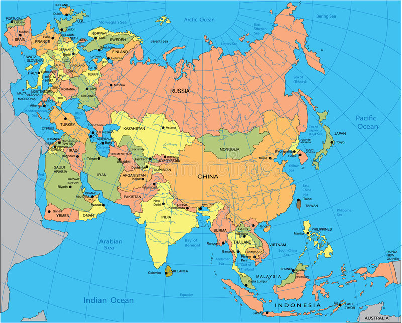 Political Map Of Eurasia Stock Vector. Illustration Of