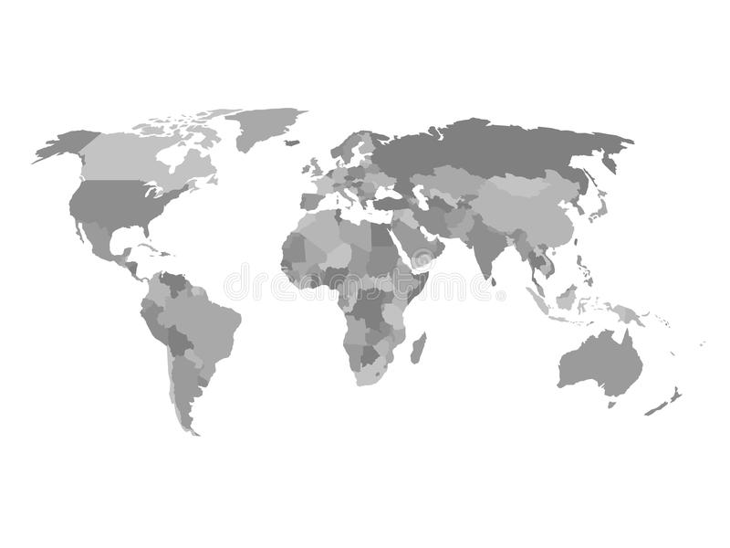 Political Map Of The World In Shades Of Grey. Simlified