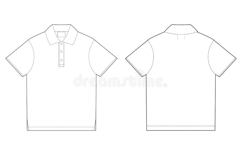 Polo T-shirt Design Template. Front And Back. Technical