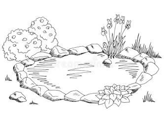 Pond Graphic Black White Landscape Sketch Illustration Stock Vector Illustration of color garden: 84650224
