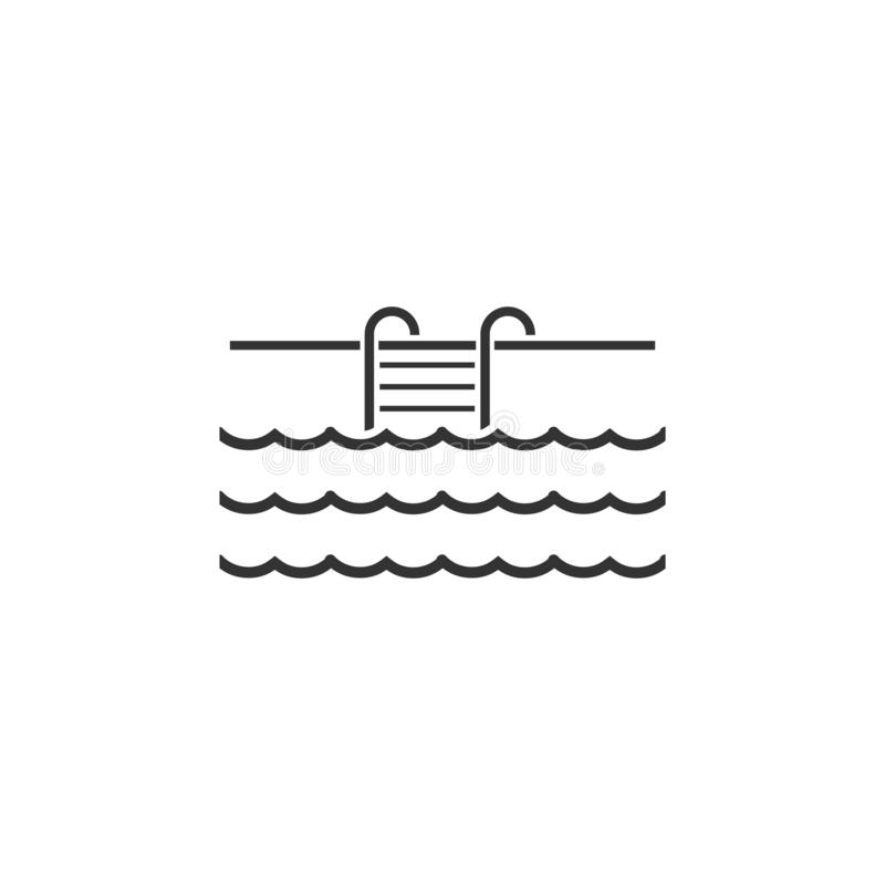 Pool, Swimming Pool, Summertime, Ladder Line Icon On White
