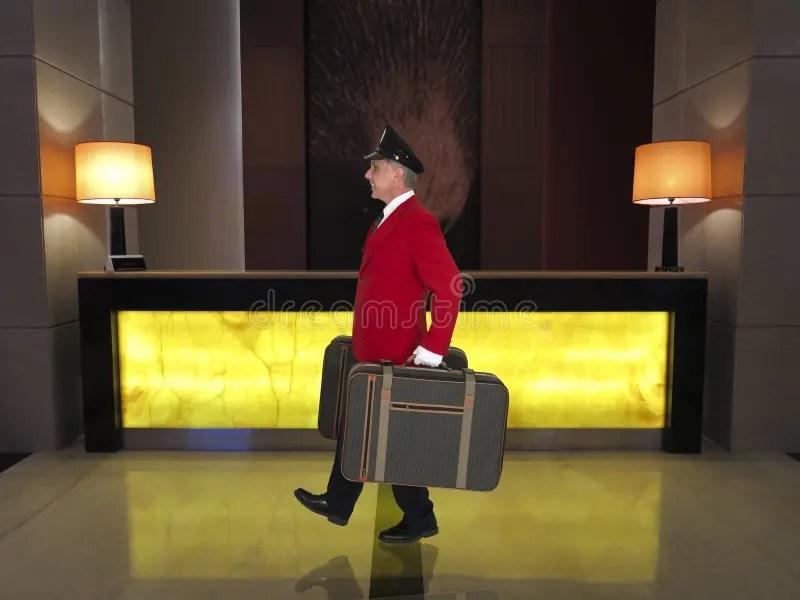 Porter Baggage Handler Hotel Clerk Luxury Resort Worker Stock Image  Image of smile baggage