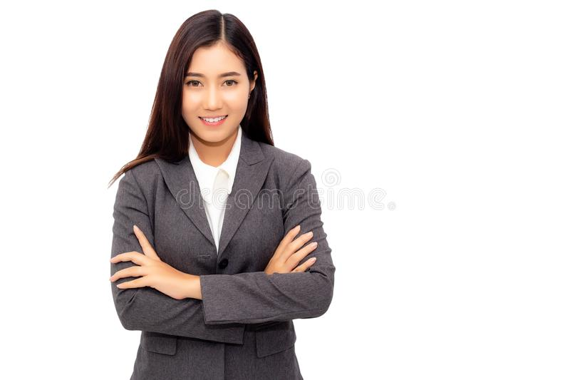 Portrait New Generation Of Young Business Woman Charming Businesswoman Cross Arm And Looks Confident Determined Attractive Stock Photo Image Of Cheerful Charming 124765960